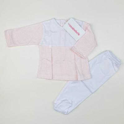 Conjunto algodón vichy rosa