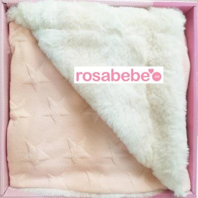 Mantita dos texturas rosa