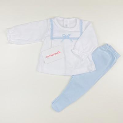 Conjunto polaina algodon azul