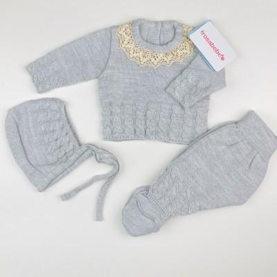 Conjunto lana gris