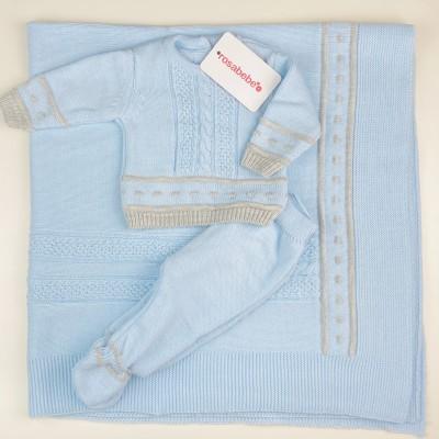 Conjunto lana gris y celeste